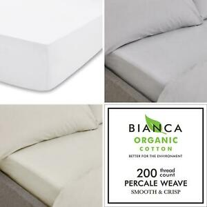 Bianca Organic Cotton Fitted Sheets 100% Cotton 200TC 32cm Deep Luxury Bedding