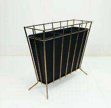 50er Schirmständer Mid Century Modern Messing schwarzes Blech schräge Beine