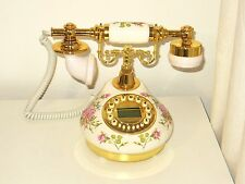 Ceramic Corded Desk Home Phone Classical Victorian Style Vintage White Landline
