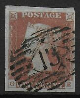 SG8a  1d.Red-Brown On Very Blue Paper.  FU With 4 Margins,3 Very Wide.  Ref:0669