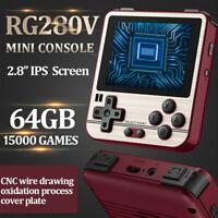 "RG280V 2.8"" Retro Game Console Buit in 15000Games PCE MSX NEOGEO Golden For Kids"