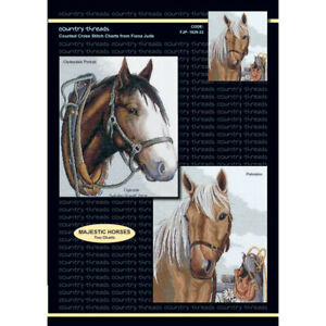Majestic Horses Country Threads crosstitch chart with/without aida & DMC thread
