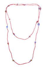 Grano exuberante & vibrante lápiz labial rojo & Multicolor Stone & Collar Largo (Zx93)