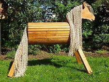 110cm Holzpferd Pony Voltigierpferd Spielpferd Pony mit Maul Mähne extralang