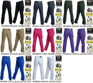 Women Motorcycle Cotton Jeans Pants Reinforced with Protective Fiber + Armor Pad
