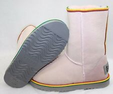 NEW Womens Size 6 AUSTRALIA LUXE Love Pink Short Rainbow Stripe Boots