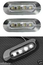 2x WHITE LED Side Marker 12V Lights Truck Bus Lorry LKW CARAVAN Camper chrome