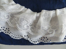 1yd 3-layer Pleated Organza Lace Edge Trim Gathered Mesh Chiffon Ribbon WhiteDIY