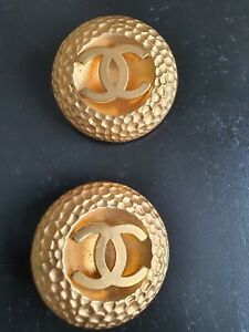 CHANEL Gold Plated CC Logos Vintage Clip Earrings 5cm size