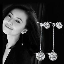 Crystal Rhinestone Pearl Ball Pendant Earrings Long Tassel Ear Stud Jewelry Gift