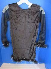 GIRLS BLACK Velour DRESS w/ Faux Fur HALLOWEEN COSTUME ~Size Small (4-6)