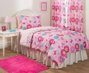 Mainstays Girls Kids Reversible Pink Butterfly Flower Bed in a Bag Bedding Set
