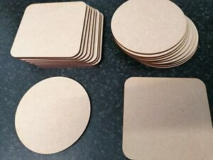 10x Wooden MDF Plain Coasters 10cm Craft Blanks Square Circle Shapes