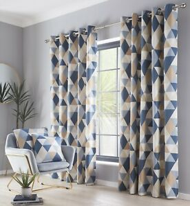 """Geo Geometric Triangle Eyelet Ring Top Lined Curtains 66 x 90"""" 229cm Navy Beige"""