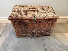 GRANDE Rustico Vintage in Vimini Cesto Pesca/Creel Tackle scatola di immagazzinaggio/Cesto.