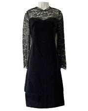 VTG 80s BESPOKE TAILORED BLACK VELVET EVENING DRESS GOTHIC MYSTERY MURDER UK 10