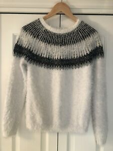 Next, Fairisle Fluffy Jumper, With Wool, In White, For Girls 16 Years