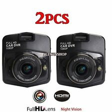 2x 2.4'' Full HD 1080P Wide Angle Car DVR Camera Record Dash Night Vision Cam VP
