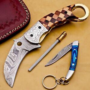Handmade Damascus Folding Pocket knife Karambit with Free Damascus Keychain