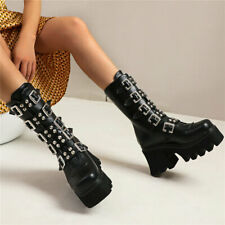 Women Punk Chic Shoes High Heels Ankle Boots High Top Pumps Shoes Casual Shoes