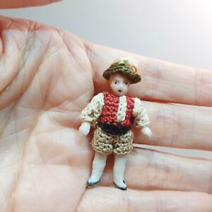 """587  Antique Germany Hertwig Carl Horn Boy in crocheted costume with hat, 1 1/2"""""""