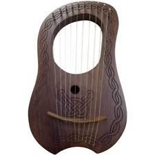 Lyre Harp Engraved Celtic Design 10 Metal Strings Lyra Harps Ten String Case Key