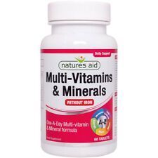 Natures Aid One-a-Day Multi-Vitamins & Minerals Without Iron - 60 Tablets