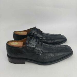 David Eden Laman Oxford Dress Shoes- Mens- Size 12- Black- Lizard- Bicycle Toe