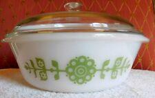Vintage Baking/Serving White Glass Bowl/Dish-Green Flowered w/ Lid