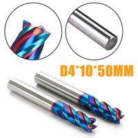 4mm HRC65° Nano Tungsten Carbide End Mill Milling Cutter Tool D4*10*50mm blue