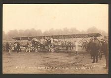 PARIS CARTE POSTALE DEPART PILOTE ETIENNE POULET POUR AUSTRALIE CAUDRON G-4 1919