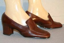 5.5 NOS BROWN Vtg 70s PIRATE PUMP CHUNKY HEEL CALIFORNIA COBBLERS LEATHER SHOE