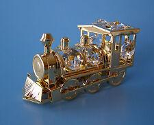 "SWAROVSKI CRYSTAL ELEMENTS ""TRAIN""  LOCOMOTIVE  FIGURINE 24KT GOLD PLATED"
