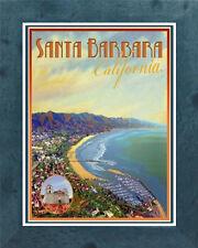Santa Barbara, CA (Framed) Art Deco Style Travel Poster -by Aurelio Grisanty