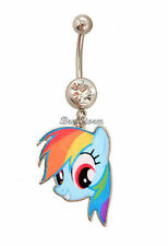 NEW MY LITTLE PONY 14G RAINBOW DASH Curved BARBELL Gem Jewel Navel Belly Ring