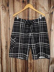 Quicksilver Mens Black and White Board Shorts Swim trunks Size 36