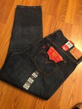 NWT Levis 34/29 501 T Button Fly Jeans Dark Wash Distressed Straight Tapered