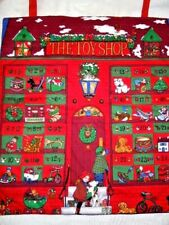 """Vintage Handmade Finished CHRISTMAS THE TOY SHOP Advent Calendar 19"""" x 22"""""""
