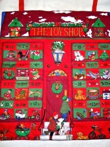 "Vintage Handmade Finished CHRISTMAS THE TOY SHOP Advent Calendar 19"" x 22"""