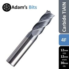 12mm diam/shank 30mm spiral 4 flute carbide TiAIN slot end mill tool bit cutter