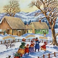 Vintage Mid Century Christmas Greeting Card Glitter Snowy Roof Victorian Family