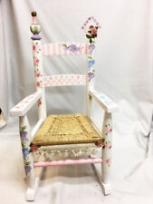 Girl's Hand Painted Children's Wood Rocking Chair Pink Purple Flowers Rocker