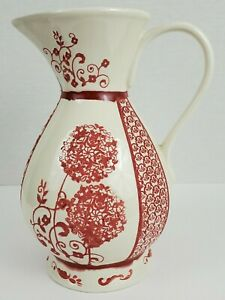 Anthropologie White and Red Floral Pitcher Vase
