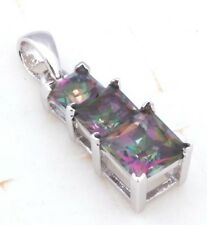 Mystic Topaz 3 stones necklace pendent new sliver plated
