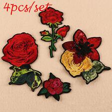 4PCS/SET DIY Parche bordado flor remiendos costura Parches Ropa etiqueta bghg