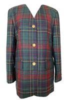 Vintage 80s 90s Women Tartan Plaid Check Blazer Wool RAVENS Vneck Size UK 12 VGC