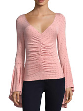 FREE PEOPLE WE THE FREE PINK BELL SLEEVE WHAT A BABE PRINTED POLKA DOT TOP L