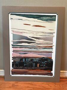 Texas artist Daryl Howard original print 1988 foil embossed retro Pueblo scene