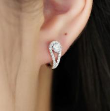 3.30Ct Round Brilliant Cut Moissanite Huggie Hoop Earrings 14K White Gold Finish