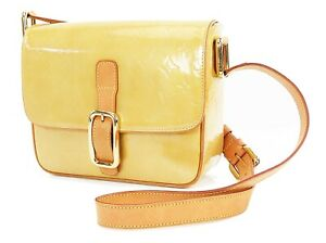 Authentic LOUIS VUITTON Christie GM Beige Vernis Shoulder Bag #36198